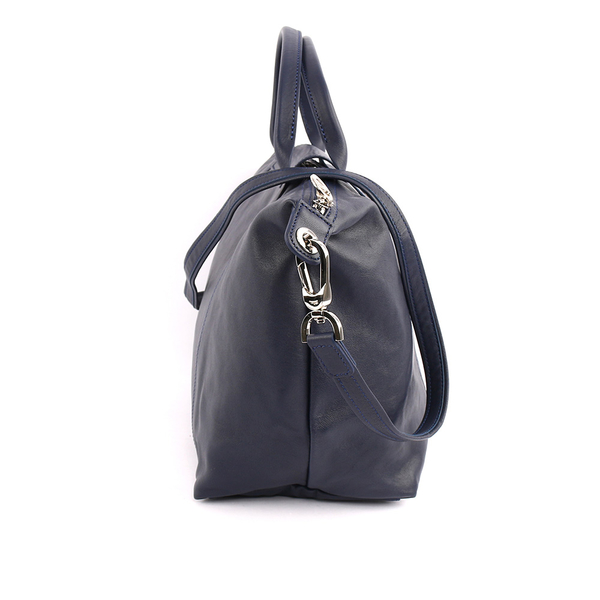 【LONGCHAMP】M號小羊皮二用折疊包(海軍藍)1515737556