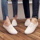 夏季小白鞋情侶男士半拖鞋包頭休閒涼拖韓版潮流懶人無跟帆布拖鞋 3C優購