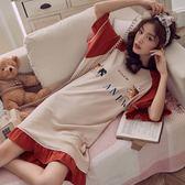 家居服 睡衣女夏季薄款純棉全棉公主風韓版甜美可愛連衣裙子長款短袖睡裙 快速出貨