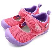 《7+1童鞋》中童 日本 MOONSTAR 月星  護趾 透氣 魔鬼氈 機能涼鞋  C469 粉色