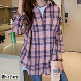 藍色巴黎 ★ 韓版開襟排釦混色格子寬鬆長袖襯衫 上衣 外套 《2色》【28738】