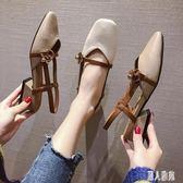 後空單鞋•女鞋2019新款方頭粗跟女淺口瑪麗珍鞋女復古包頭涼鞋女CC4218『麗人雅苑』