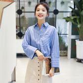 VK精品服飾 韓國風文藝復古淑女條紋寬松襯衫長袖上衣