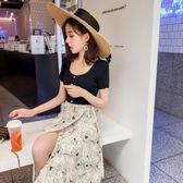 黑色上衣女韓版圓領短袖冰絲T恤寬松時尚百搭薄款針織打底衫#