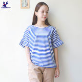 【單一特價】American Bluedeer-條紋袖波浪T 春夏新款