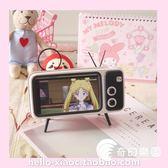 藍牙喇叭-創意可愛復古電視機無線藍牙音箱TV手機支架桌面電腦音響-奇幻樂園
