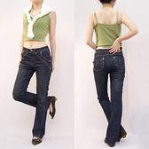 牛仔褲--細到無法無天的美腿-前斜車線深藍刷黃中腰小喇叭牛仔褲(S-7L)-N34眼圈熊中大尺碼◎