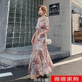 中袖洋裝 連身裙大碼中袖新款夏碎花雪紡長裙v領收腰顯瘦抽象設計長款裙 薇薇