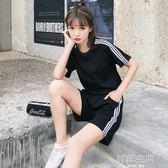 運動套裝女夏2018新款寬鬆短袖短褲跑步服休閒原宿時尚網紅兩件套