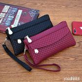 錢包新款女錢包韓版百搭手拿包潮爆簡約手機包氣質格紋零錢包小包 qf8876『Pink領袖衣社』