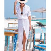 罩衫 排釦 開襟 薄款 皺褶 連身裙 長裙 沙灘 比基尼 罩衫【ZSQZ170】 ENTER  04/26