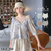 LULUS【A01200373】Y自訂款花樣綁帶上衣4色