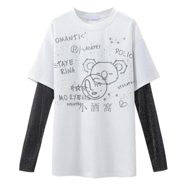 假兩件t恤女夏季短袖設計感小眾網紗拼接女裝潮白色防曬袖套上衣【小酒窩】