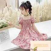 女童連身裙夏季女童薄款公主夏裝雪紡碎花兒童韓版裙子【小玉米】