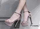 高跟涼鞋 杏色一字後蝴蝶結蘿莉風 晚宴鞋 高跟鞋 新娘鞋 大尺碼35-40*Kwoomi-A63