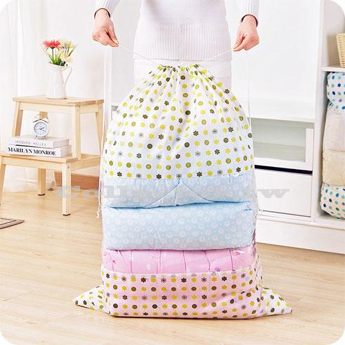 無紡布視窗型束口棉被收納袋 (大號) 衣物防塵袋 整理袋 行李袋 搬家打包袋