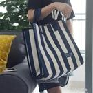 條紋帆布袋女韓版環保學生袋子大容量買菜包防水手提購物袋飯盒袋【小艾時尚】