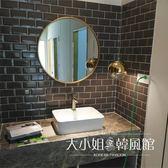 歐式浴室鏡 圓鏡 化妝鏡 圓形浴室鏡 壁掛衛生間鏡子 鐵藝鏡-大小姐韓風館