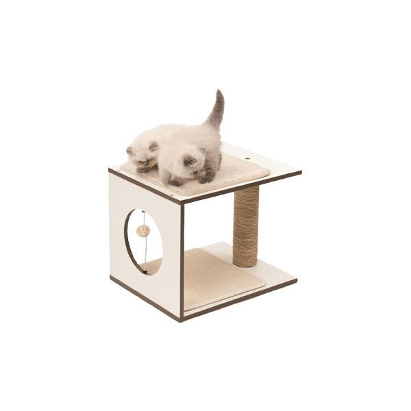 寵物家族-HAGEN 赫根Vesper 貓用實木精品家具 跳台-遊戲板凳(白色)