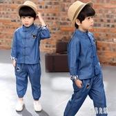 男童唐裝長袖套裝秋冬款牛仔漢服兒童寶寶中式復古民族風兩件套潮 LR13973【優品良鋪】