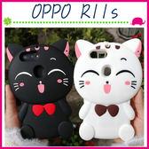 OPPO R11s 6吋 Plus 6.4吋 立體蝴蝶結貓咪手機套 條紋招財貓保護套 全包邊手機殼 可愛小貓保護殼