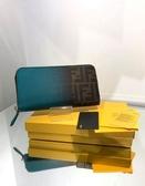 ■現貨在台■專櫃41折■Fendi 全新真品 8M0299 FF 漸層耐刮皮革拉鍊封口皮夾/長夾/錢包 水藍色