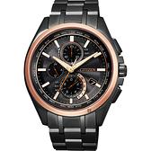 限量 CITIZEN 星辰 鈦 光動能電波計時錶-黑x玫瑰金圈/41.5mm AT8046-51E