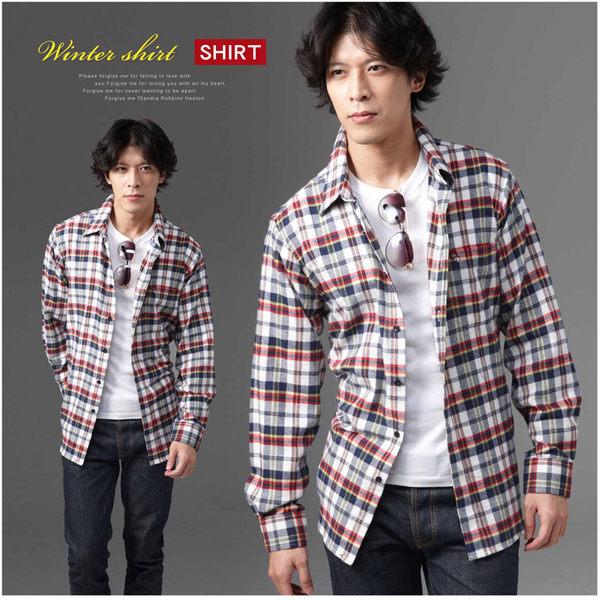 【大盤大】(S50512)男性 純棉襯衫法蘭絨襯衫 長袖襯衫 格紋 美式休閒衫 男朋友 情人 聖誕 禮物
