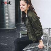 秋冬韓版棒球服女加棉軍綠色寬鬆bf飛行員夾克短外套女學生加厚 後街