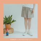 褲子 簡約俐落口袋細線棉麻短褲 三色-小C館日系