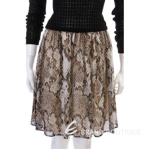 MOSCHINO 仿蛇紋紗質拼接長袖洋裝 1210396-01