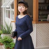 Poly Lulu Mua!拼接雕花蕾絲傘襬洋裝-深藍【92290207】