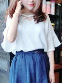 韓版短袖雪紡衫女夏春裝喇叭袖網紗襯衫