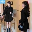 【V3209】shiny藍格子-甜蜜輕盈.純色前排釦假口袋抽繩收腰長袖連衣裙