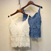 春秋裝打底短款小吊帶度假鏤空蕾絲外穿搭針織背心女 易貨居
