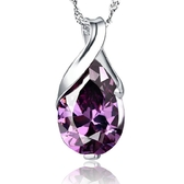 天然巴西紫水晶水滴型天使之淚白銅電鍍飾品吊墜《小師妹》ps41
