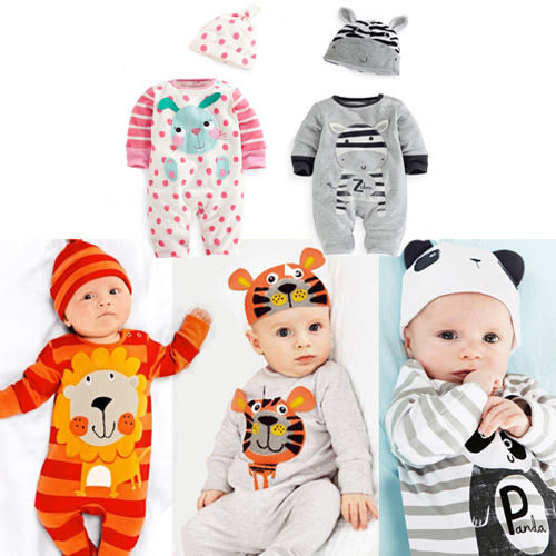 長袖連身衣 可愛動物虎熊貓兔寶寶 包屁衣 (含帽子) W61084