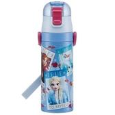 〔小禮堂〕迪士尼 冰雪奇緣 超輕量彈蓋不鏽鋼保溫瓶附背帶《藍紫》470ml.水壺.水瓶 4973307-47695