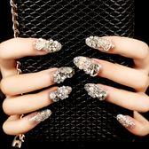 雨奈 新娘指尖魔盒可穿戴甲美甲指甲貼片成品可拆卸全貼假指甲片  提拉米蘇