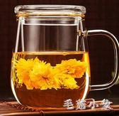 泡茶杯帶把耐熱玻璃杯花茶杯水杯帶蓋家用茶水分離杯大容量杯子 ys3536『毛菇小象』