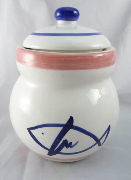 【震撼精品百貨】日式精品 ~ 陶瓷密封置物罐『魚&葉子』