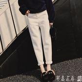 西裝長褲新款毛呢蘿卜褲秋冬大碼顯瘦小腳哈倫褲女九分高腰西裝褲休閒長褲