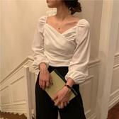 雪紡襯衫 早秋港風復古氣質v領長袖白色襯衫ins女潮設計感小眾短款上衣 唯伊時尚