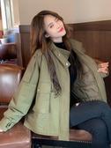 加厚夾棉工裝外套女秋冬新款潮復古港味韓版寬鬆女士短風衣 伊蘿鞋包
