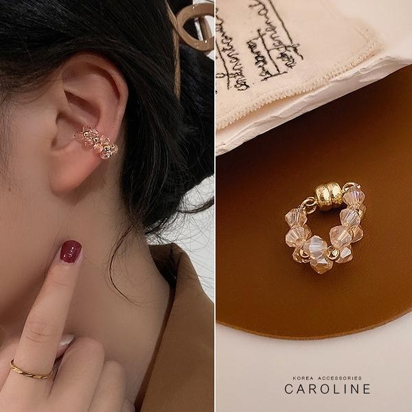 《Caroline》法式古典粉色水晶珠磁吸式高級訂製款無耳洞耳夾無痛耳骨夾(單只)72685