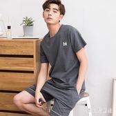 男士睡衣 夏季棉質短袖短褲青年休閒全棉薄款家居服套裝 BT5003『寶貝兒童裝』