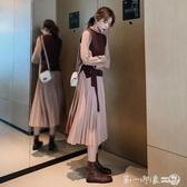 2019秋冬季兩件套裝長袖連衣裙新款女裝收腰顯瘦氣質長款百褶裙子 第一印象