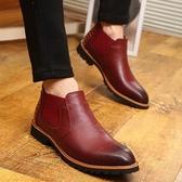 馬丁靴 鉚釘-英倫復古尖頭切爾西男中筒靴2色73kw35【巴黎精品】