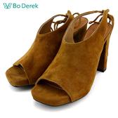 Bo Derek 麂皮後綁魚口高跟鞋-駝