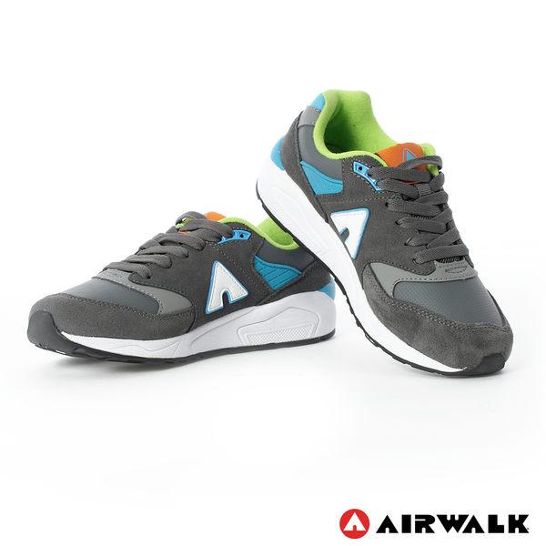 AIRWALK(女) - A字風潮 拼接麂皮復古運動鞋 - 深灰